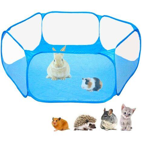 Foldable Indoor Outdoor Pet Playpen, Macllar Pet Playpen Cage for Guinea Pig, Hamster, Rabbit, Rat, Pigs Run Portable (Blue)