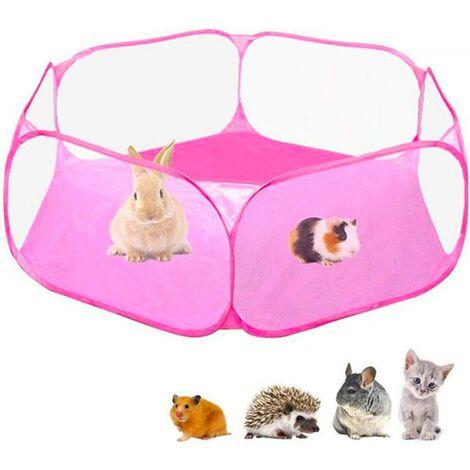 Foldable Indoor Outdoor Pet Playpen, Macllar Pet Playpen Cage for Guinea Pig, Hamster, Rabbit, Rat, Pigs Run Portable (Pink)