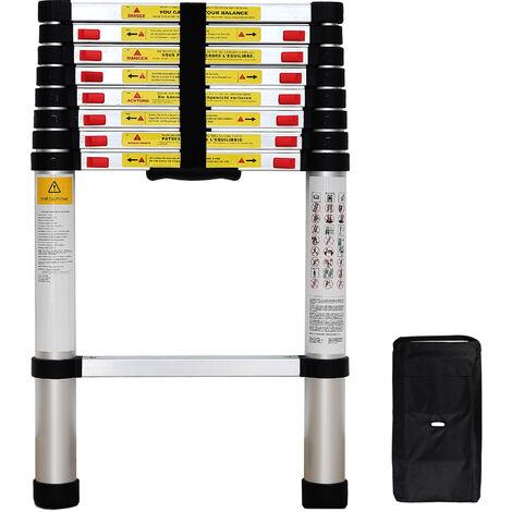 Foldable Ladder, Telescopic ladder, 2.6 meters (8.5 feet), FREE Carry bag, EN 131, Maximum load: 330 lbs
