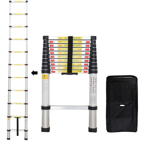 Foldable Ladder, Telescopic ladder, 3.2 meters (10.5 feet), FREE Carry bag, EN 131, Maximum load: 330 lbs