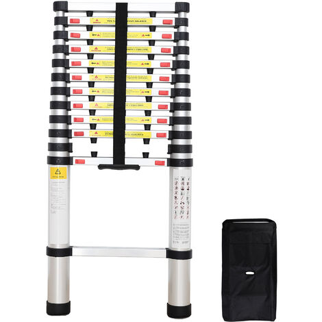 Foldable Ladder, Telescopic ladder, 3.8 meters (12.5 feet), Extra gap, FREE Carry bag, EN 131, Maximum load: 330 lbs