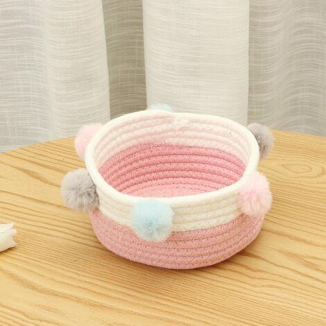 Foldable Laundry Basket Toy Storage Basket Hairball Cotton Trash Basket (Pink and White)