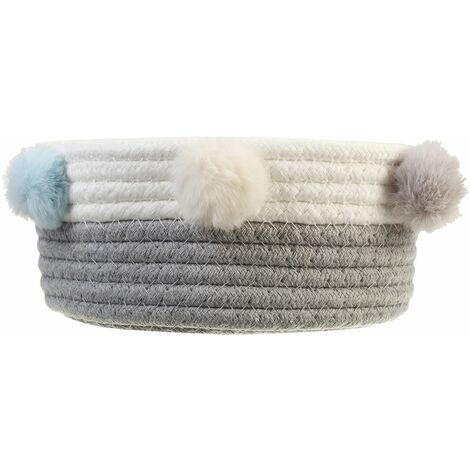 Foldable Laundry Basket Toy Storage Clothes Basket Cotton Hairball Trash (Gray and White)