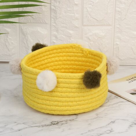 Foldable Laundry Basket Toy Storage Clothes Basket Laundry Basket Cotton Hairballs (Yellow)