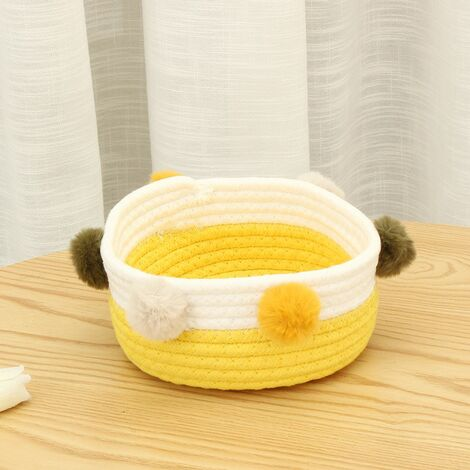 Foldable Laundry Basket Toy Storage Clothes Basket Laundry Basket Cotton Hairballs (Yellow and White)