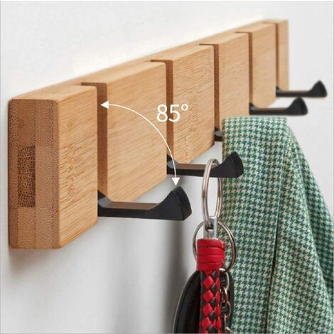 Foldable Natural Wooden Coat Hangers, Wall Coat Rack with 5 Hooks Self-adhesive Mail Stack Wall Hanger Key Hanger; Wooden Wall Organizers for Bathroom Living Room Bedroom Office Kitchen