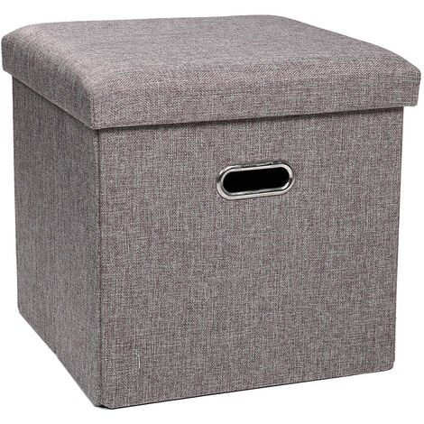 Foldable Ottoman Bench Footstool Cube Box 38*38*38cm Grey
