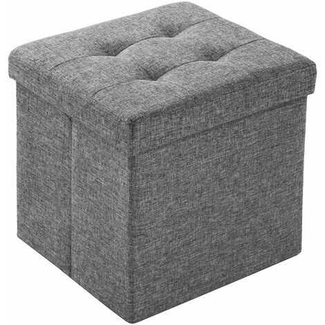 Foldable ottoman made of polyester with storage space - storage ottoman, shoe storage bench, hallway bench