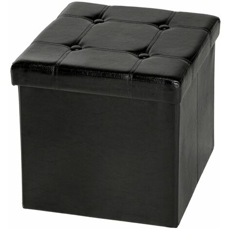 Foldable ottoman made of synthetic leather with storage space - storage ottoman, shoe storage bench, hallway bench