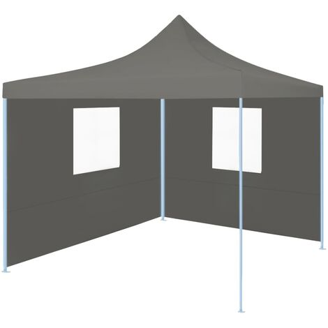 Foldable Party Tent Pop-Up with 2 Sidewalls 3x3 m Anthracite