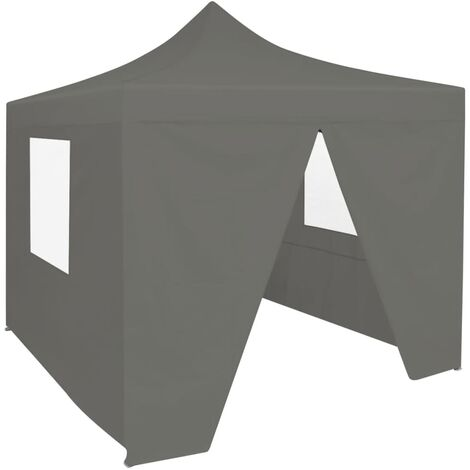 Foldable Party Tent Pop-Up with 4 Sidewalls 3x3 m Anthracite