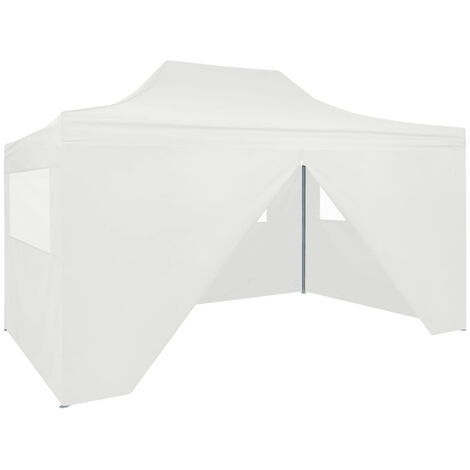 Foldable Party Tent with 4 Sidewalls 3x4.5 m White