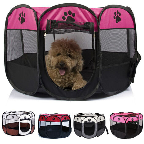 Foldable Pop Up Pet Dog Play Tent Cat Puppy Rabbit Mesh Playpen Rose Red