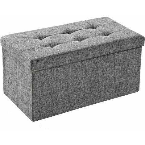Foldable storage bench made of polyester - storage ottoman, shoe storage bench, hallway bench - light grey - light grey