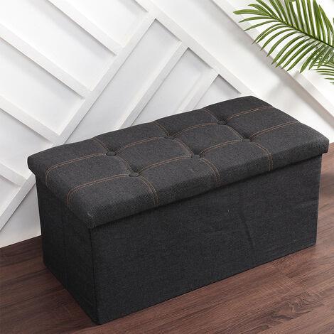 Foldable Storage Ottoman Bench Linen Fabric 73x37x33cm,Blue