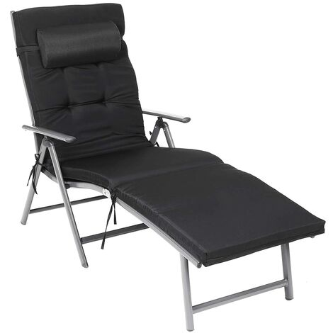 Foldable Sun Lounger, Sunbed with 6cm Mattress, Removable Headrest, Rustproof Aluminium, Breathable, Comfortable, Reclinable, Max. Load Capacity 150kg, Black/Grey