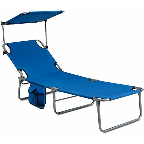 Foldable Sun Shading Lounger Adjustable Sunbed Deck Chairs Recliner Lazy Bed