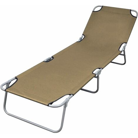 Foldable Sunlounger with Adjustable Backrest Taupe