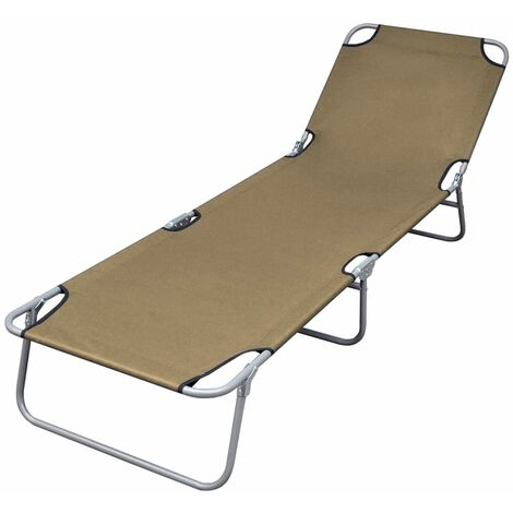 Foldable Sunlounger with Adjustable Backrest Taupe - Brown