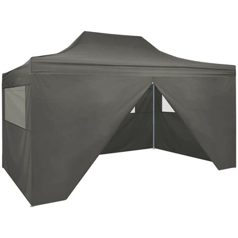 Foldable Tent Pop-Up with 4 Side Walls 3x4.5 m Anthracite