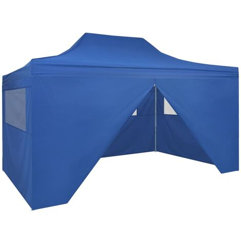 Foldable Tent Pop-Up with 4 Side Walls 3x4.5 m Blue