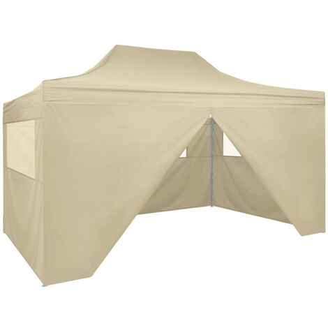 Foldable Tent Pop-Up with 4 Side Walls 3x4.5 m Cream White