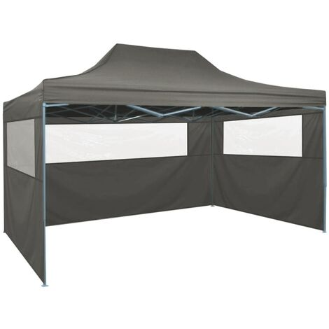 Foldable Tent with 3 Walls 3x4.5 m Anthracite