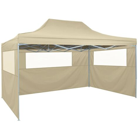 Foldable Tent with 3 Walls 3x4.5 m Cream