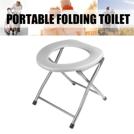 Foldable Toilet Chair Seat For Dark Gray Metal Camping Folding Toilet Chair For Seniors, Pregnant Women, Hiking, Travel, Construction Sites