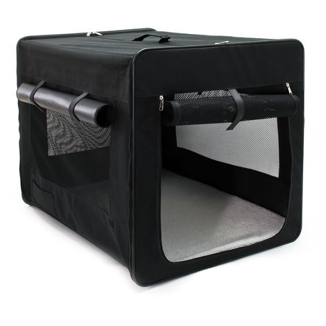 Foldable Transport Cage for Dogs & Pets, L Carrier Crate (76x56x61cm) with removable Cushion