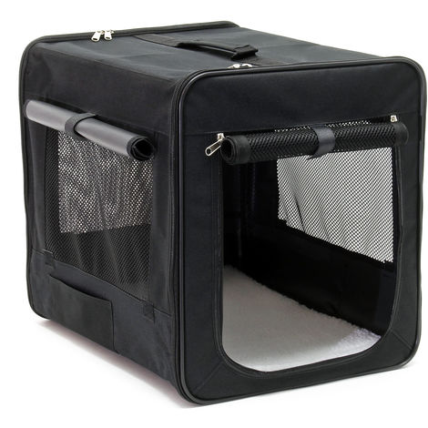 Foldable Transport Cage for Dogs & Pets, M Carrier Crate (58x46x53cm) with removable Cushion