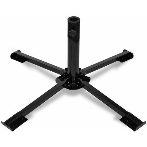 Foldable Umbrella Base Steel Black