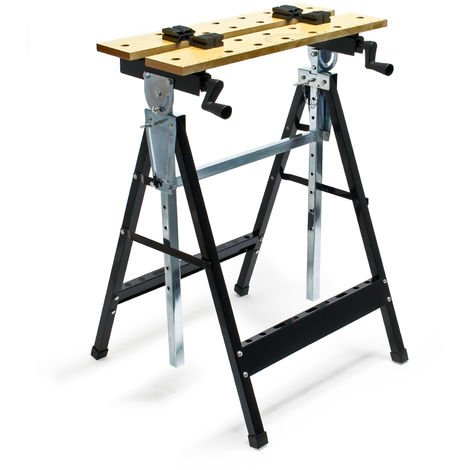 Foldable Workbench 62.5x60.5x(84.5-115.5)cm with Tool Storage with Adjustable Angle, Height & Depth