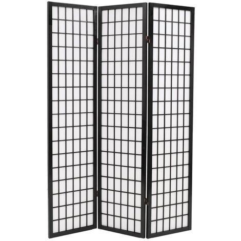 Folding 3-Panel Room Divider Japanese Style 120x170 cm Black