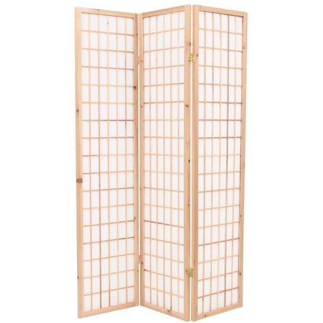 Folding 3-Panel Room Divider Japanese Style 120x170 cm Natural