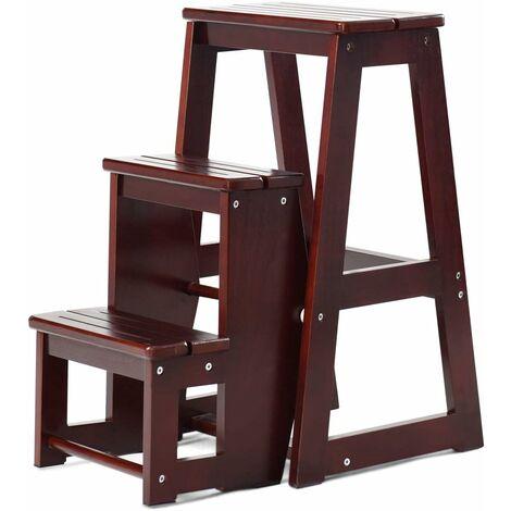 Folding 3 tier Step Stool Wooden Indoor Folding Stepladder Shelf Adults Kids