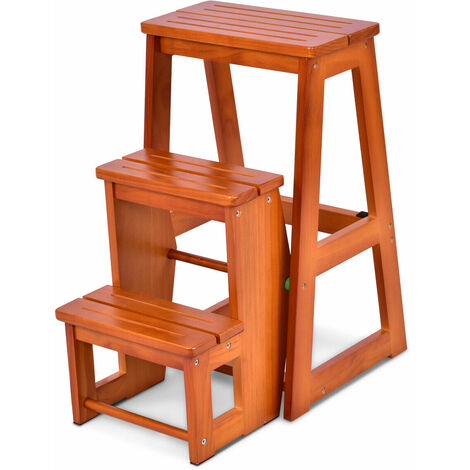 "main image of ""Folding 3 tier Step Stool Wooden Indoor Folding Stepladder Shelf Adults Kids"""