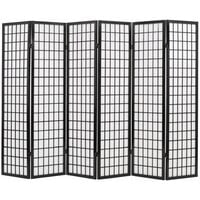 Folding 6-Panel Room Divider Japanese Style 240x170 cm Black