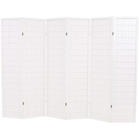 Folding 6-Panel Room Divider Japanese Style 240x170 cm White
