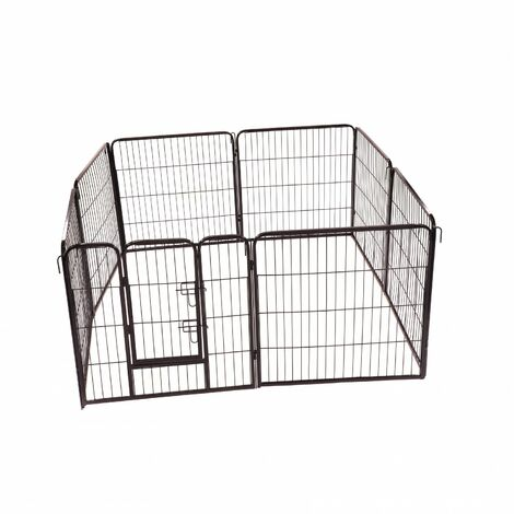 Folding 8 Panel Pet Dog Rabbit Run Play Pen Whelping Cage Enclosure Fence 80 x 77cm