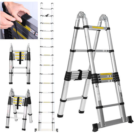 Folding Aluminium Ladder Telescopic Step Ladder Garden Extension Ladders 4.4M