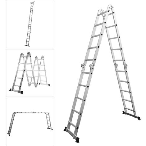 Folding Aluminium Ladder Telescopic Step Ladder Garden Extension Ladders Outdoor