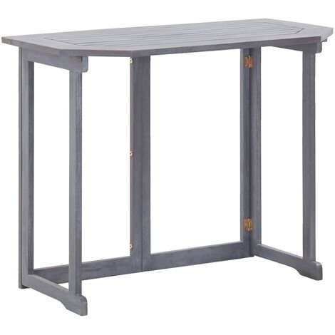 Folding Balcony Table 90x50x74 cm Solid Acacia Wood - Grey