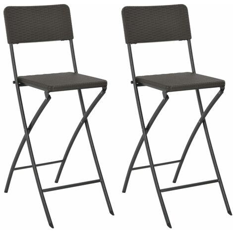 Folding Bar Chairs 2 pcs HDPE and Steel Brown Rattan Look