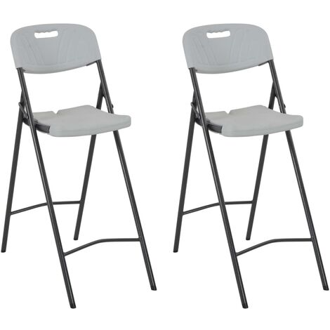 """main image of """"Folding Bar Chairs 2 pcs HDPE and Steel White31551-Serial number"""""""