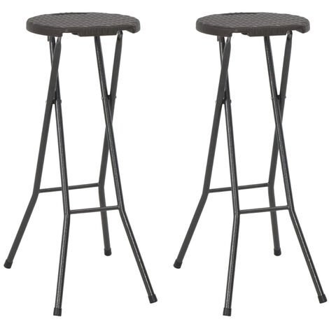 Folding Bar Stools 2 pcs HDPE and Steel Brown Rattan Look
