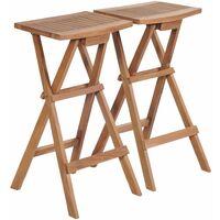 Folding Bar Stools 2 pcs Solid Teak Wood
