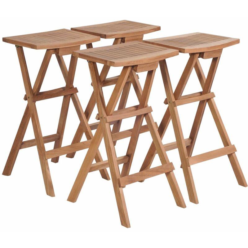 Fantastic Folding Bar Stools 4 Pcs Solid Teak Wood Creativecarmelina Interior Chair Design Creativecarmelinacom