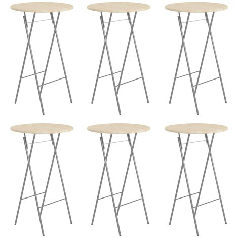 Folding Bar Tables 6 pcs 60x113 cm Steel and Natural Pinewood