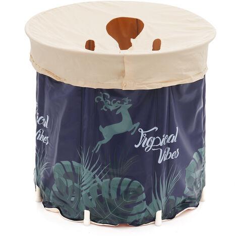 Folding Bathtub 65x70cm Blue Portable Spa Bath Tub Soaking Bathroom Barrel with cover